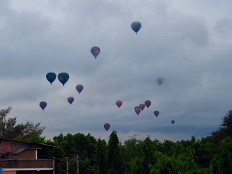Bagan, hot air balloons at a cloudy sunrise