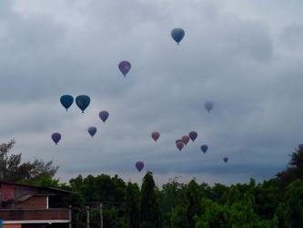 Bagan, hot air balloons at a cloudy sunrise