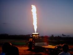 Bagan, hot air balloon firing up at sunrise