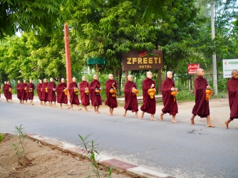 Bagan, monks in the morning